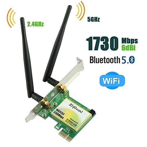 Ziyituod PCIe Wireless Card Bluetooth 5.0 AC 1730Mbps Wireless PCI Express Network Adapter Wireless Card Wireless PCI-e Card Support for Windows 10