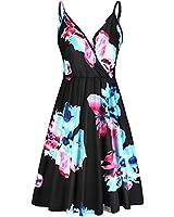 STYLEWORD Women's V Neck Pocket Dress Floral Adjustable Spaghetti Beach Dress