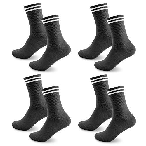 Sneaker Socken Herren Damen, 4 paar Unisex socks Atmungsaktiv Sportsocken Laufsocken Lange Business & Freizeit Baumwollsocken Schwarz Weiß Grau, Ideal für Herbst & Winter 43-46