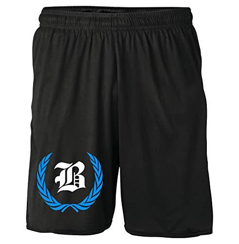 Berlin Kranz Shorts | Fussball Sport Ultras Kurze Hose Sporthose (XXL, Berlin Kranz M1 Druck: Blau)