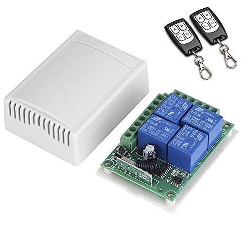 WMLBK 433 MHz de largo alcance DC 12 V 4 canales transmisor inalámbrico RF interruptor de palanca-2 unids interruptor de control remoto+1 relé receptor