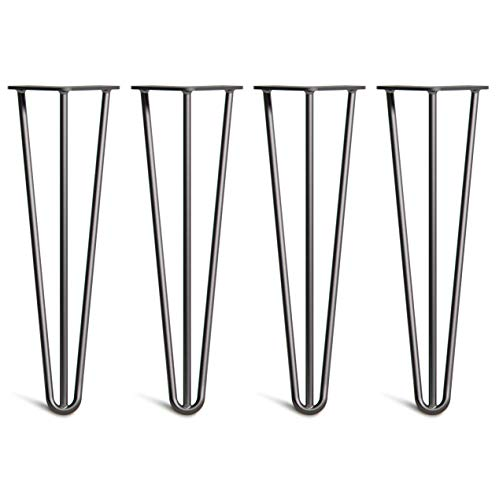 [HLC] 4 x Hairpin Table Legs – Superior Double Weld Steel Construction with Free Screws, Build Guide & Protector Feet, Worth £8! – 10mm Steel, All Sizes & 13 Colours [16'/40cm,Black]
