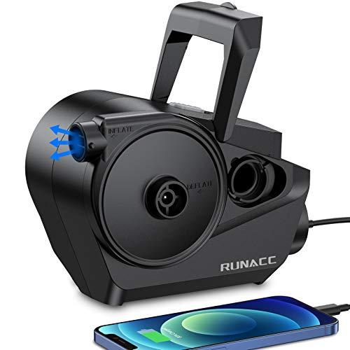RUNACC Elektrische Luftpumpe Akku mit LED Licht - Wiederaufladbare | Schnellbefüllbarer | Inflator & Deflator | 3 Luftdüse Elektrische Pumpe für Aufblasbare Matratze Luftmatratze (Schwarz)