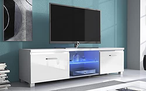 Skraut Home – Meuble bas TvLed, Salon-Séjour, Blanc mate et Blanc laqué, 150x40x42cm.