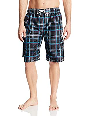 Kanu Surf Men's Swim Trunks (Regular & Extended Sizes), Miles Black, Medium