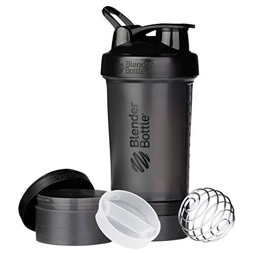 Blender Bottle 500209 ProStak System with 450ml Bottle and Twist n' Lock Storage, 22oz, Black