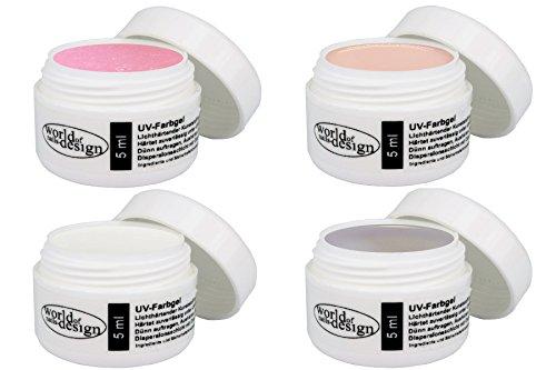 World of Nails-Design Die 4 wichtigsten Gele für den Babyboomer Look (3Phasengel, milchig rosé, beige, weiß) 4er Pack (4 x 5 ml)