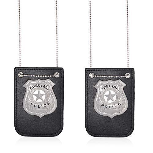 Beelittle - Insignia de polica con Cadena y Clip para cinturn, Collar de Sheriff, Accesorio de Disfraz de polica para Oficial de polica, polica, Fiesta de Halloween, Disfraz