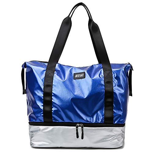 Eco Memos Bolsa Deportiva para Mujer Bolsa de Viaje Impermeable con Bolsillo Mojado y Compartimento para Zapatos, Bolsa de Fitness Bolsa de Mano de Gran Capacidad (Plata Azul)