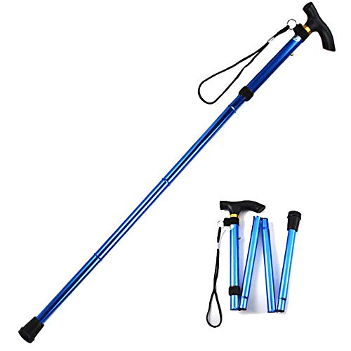 Evealyn Folding Walking Cane/Stick for Men,Women,Collapsible Height Adjustable Cane for Elderly,Lightweight Foldable Portable Travel Cane,Non-Slip Balancing Comfortable Handles Crutches(Blue)