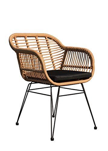 animal-design Gartenstuhl Living Loungesessel Polyrattan Balkon Terrasse inkl. Sitzkissen Gartenmöbel, Farbe:beige