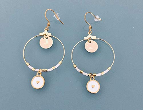 Aros de corazón, aretes de oro criollo y perlas blancas y doradas, criollos de oro, joyas doradas, regalos de joyas, regalos de mujeres