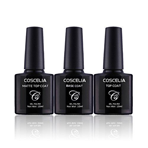 Coscelia Base Coat + Top Coat+ Matt Top Coat Set UV Nagellack Gel Lack Unter und Überlack Kit UV LED Gel
