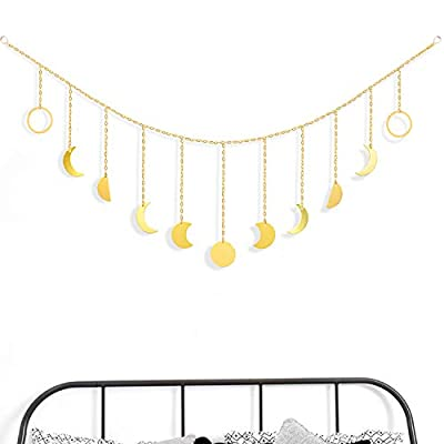Moon Decor Wall Hanging - Gold Moon Phases Banner- Wall Art Garland with Chains Boho Wall Decor Ornaments for Bedroom Headboard Living Room Apartment Dorm Nursery Room Office Home Decorations