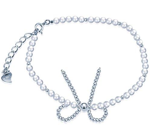 Infinite U - Pulsera ajustable de plata de ley 925 con perlas de imitación