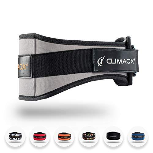 Climaqx Gewichthebergürtel | Für Fitness, Bodybuilding, Crossfit und Krafttraining | Trainingsgürtel für Damen und Herren (Grau, Größe S)