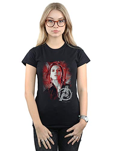Marvel Mujer Avengers Endgame Black Widow Brushed Camiseta Negro Large