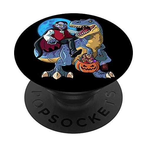 Conde Drcula T-Rex Halloween Nios Dinosaurio T Rex Vampiro PopSockets PopGrip Intercambiable