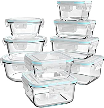 Glass Food Storage Containers with Lids [18 Piece] Glass Meal Prep Containers Glass Containers for Food Storage with Lids BPA Free & Leak Proof  9 Lids & 9 Containers
