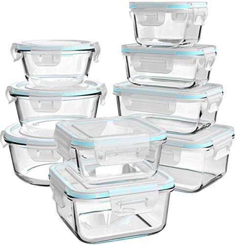 Glass Food Storage Containers with Lids 18 Piece Glass Meal Prep Containers Glass Containers for Food Storage with Lids BPA Free amp Leak Proof 9 Lids amp 9 Containers