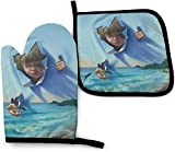 Jumping Dolphin Pigeon Oven Mitts and Pot Holders Kitchen Set Heat Resistant Cooking Baking BBQ Mitts