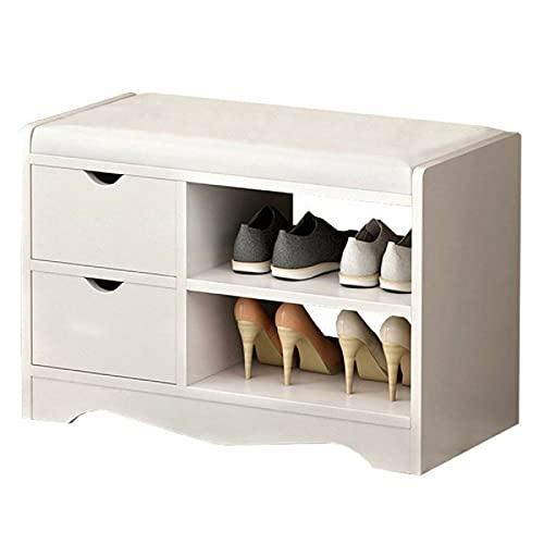 TEET Zapatero de 2 capas, organizador de zapatos, organizador de zapatos, multifuncional de madera, con 2 cajones, organizador de almacenamiento de zapatos