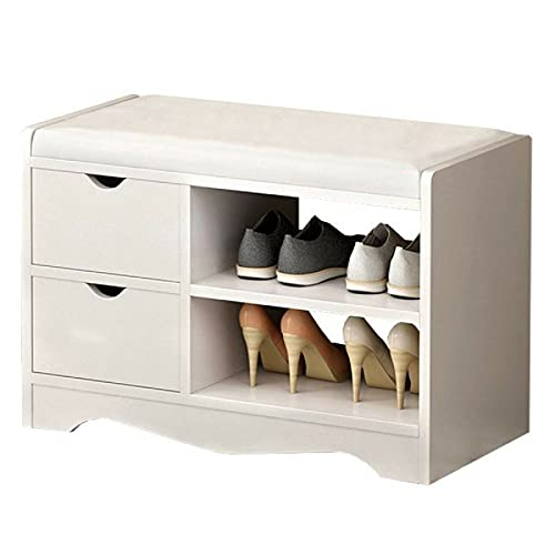 Heqianqian Zapatero de 2 capas, organizador de zapatos, organizador de zapatos, de madera, multifuncional, con 2 cajones, muebles de pasillo