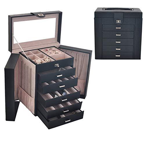 Caja Joyero Bloqueable - Cortical Gran Capacidad Multicapa Organizador De Joyerías - Caja De Almacenamiento De Joyas del Gabinete 6 Capa 5 Cajones,2 Armarios Verticales,Black