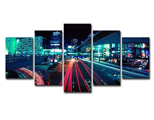 HAIHUW Leinwandbilder 5 Stück Wandkunst Bilder Nacht Stadt Lichter Poster Wohnzimmer Home Moderne Dekoration (Rahmenlos) 150x80cm