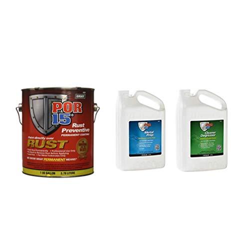 POR-15 45201 Rust Preventative Coating Gray w/Metal Prep & Degreaser 1 Gallon Kit