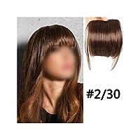 ナチュラルブラックブラウン人工毛偽フリンジヘアピースの毛前髪エクステンションクリップでニートフロントクリップ、#30,6Inches