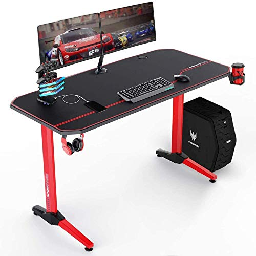 VIT 55 Inch Ergonomic Gaming Desk, T-Shaped Office PC Computer Desk with Full Desk Mouse Pad, Gamer Tables Pro with USB Gaming Handle Rack, Stand Cup Holder&Headphone Hook (55 inch, Red)