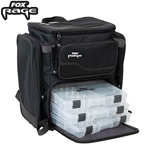 Fox Rage Rucksack 42x21x41cm - Angelrucksack für Spinnköder, Kunstködertasche für Wobbler & Gummiköder, Tackletasche