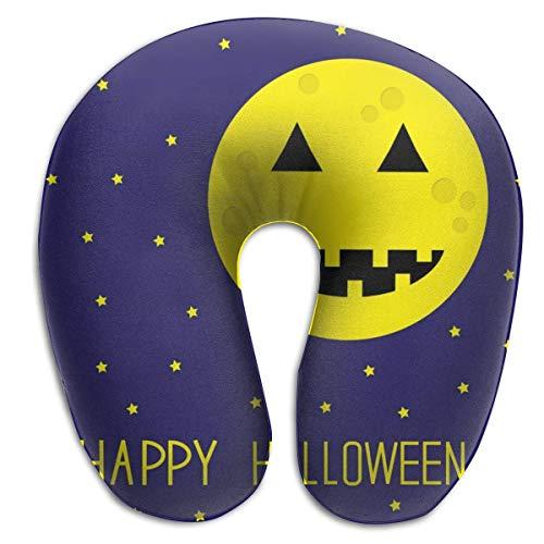 XCNGG Halloween Citrouille Lune Oreiller en Forme de U Oreiller de Voyage imprimé oreillers de...