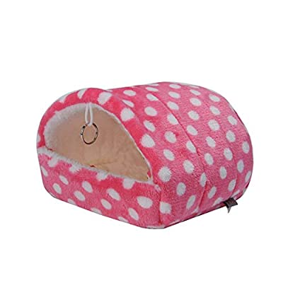 XHNNI Pets Nest Soft Comfortable Sponge Keep Warm Hangable Pets Beds for Hamster Parrot Small Cat Dog Pets House Pink 7 * 8cm by XHNNI