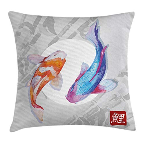 Ambesonne Koi Fish Throw Pillow Cushion Cover, Watercolor Style Koi Fish Couple Design with Grunge Brushstrokes Based Paint, Decorative Square Accent Pillow Case, 18' X 18', Orange Blue
