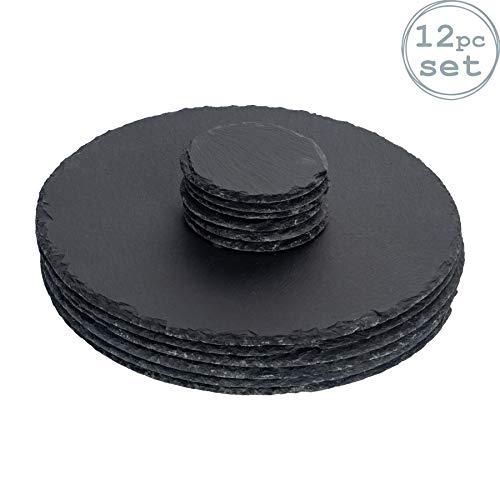 Argon Tableware Runde Schieferplatten - Platzteller-Set - 6 Untersetzer & 6 Platzteller