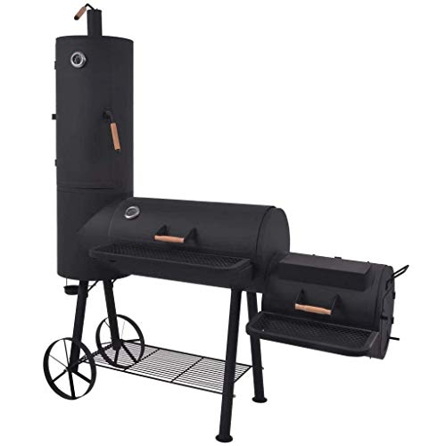 vidaXL BBQ Charcoal Smoker with Bottom Shelf Black Heavy XXL Barbecue Grill