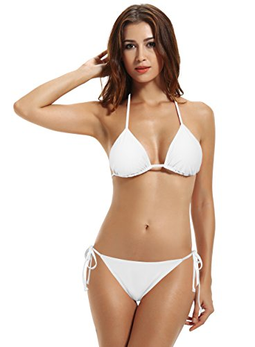 zeraca Women's Sexy Tie Side Bottom Triangle Bikini Swimsuits (30 White, M10)
