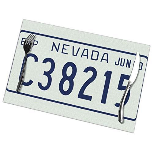 Juego de manteles individuales de matrícula Nevada 1960 de poliéster lavable de 6 piezas para decoración de mesa de comedor de cocina