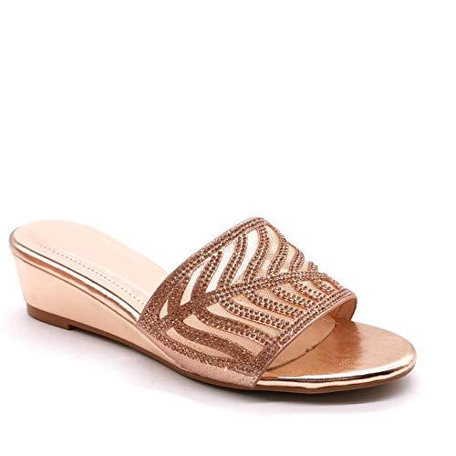 Angkorly - Damen Schuhe Schuh-Mule Sandalen - Step - Slip-on - orientalisch - Strass Diamant - Perforiert - Grillen Blockabsatz 5.5 cm - Champagner 3 H-9 T 41