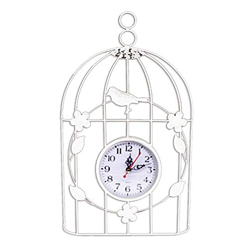 Chnrong Bird Cage Wall Clock Vintage Ratro Style Decor Hanging Clock for Home Indoor Decoration White