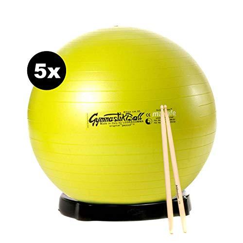 Sportlädchen Drums Mid Kombi: 5X Original Pezzibälle Maxafe Ballschale und Sticks Gymnastikba