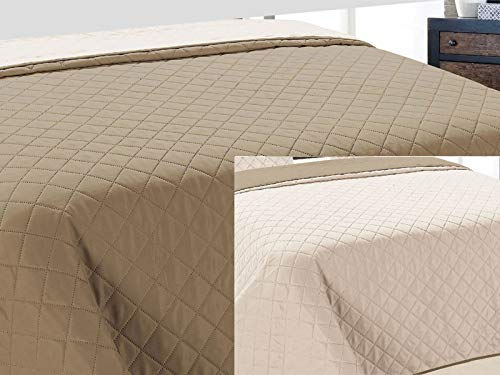 Zweiseitige Tagesdecke Bettüberwurf 1 TLG. Vigo Cappuccino Ecru- 010, 220x240 cm