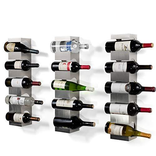 brightmaison 15 Bottle Wine Rack Wall Mounted and Stackable Bottle Rack Holder Storage Organizer with Top Shelf Design for Modern Decor Metal Set of 3 Holds 15 Bottles