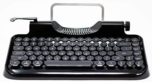 KnewKey Tastatur im Schreibmaschinen-Stil, mechanisch, kabelgebunden, kabellos, mit Tablet-Ständer, Bluetooth-Verbindung (v2, schwarz)