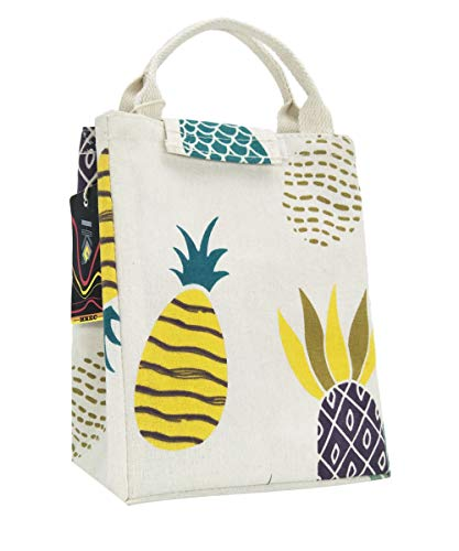 HKEC Reusable Lunch Bag Insulated Lunch Box Cute Canvas Fabric with Aluminum Foil, Lunch Box Tote for Women/Picnic/Boating/Beach/Fishing/Work(Colorful Pineapple)