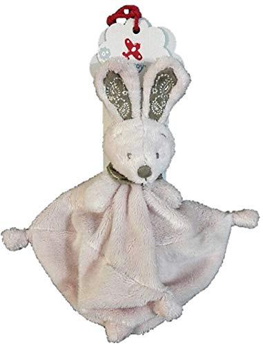 NICOTOY Simba Toys Doudou Lapin Plat Rose Bandana Marron 24 cm Noeuds bébé Fille