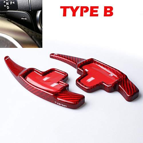 HEZHOUJI Schaltpaddel, Carbonfaser-Lenkrad-Schaltpaddelverlängerung, für Mercedes Benz AMG A45 CLA45 C63 S63 GLA45 E43 SL63, ROTKARBON TYP B.