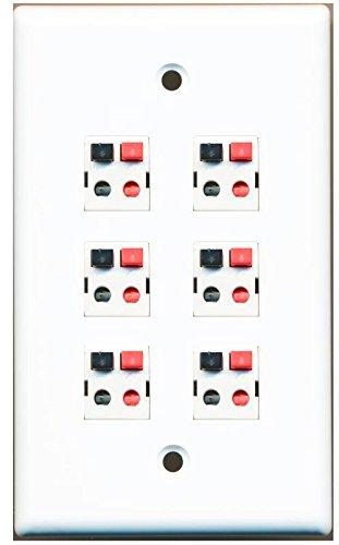 RiteAV 6 Port Speaker Jack Single Gang Wall Plate for Home Theater - White